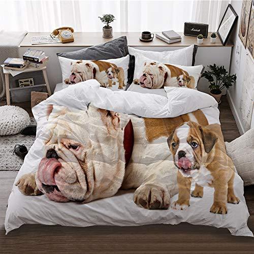 HATESAH Funda De Edredón,Padre e Hijo Perros - Bulldog inglés Cachorro Lengua lamiendo Nariz,3 Pcs Ropa de Cama Funda Nórdica Sábana Bajera (140 * 200CM)