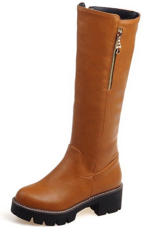 WeenFashion Women's Solid Kitten Heels Round Closed Toe Pu Zipper Boots with Metal