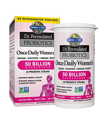 Garden of Life Dr. Formulated Once Daily Women's Shelf Stable Probiotics 16 Strains, 50 Billion CFU Guaranteed Potency to Expiration, Gluten Dairy & Soy Free One a Day, Prebiotic Fiber, 30 Capsules by Garden of Life