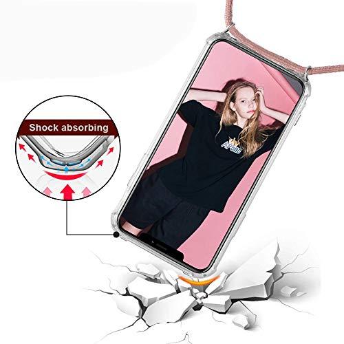 XTCASE Handykette kompatibel mit Huawei Mate 10 Lite Handyhülle, Smartphone Necklace Hülle mit Band Transparent Schutzhülle Stossfest – Schnur mit Case zum Umhängen in Roségold - 6