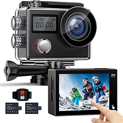 4K 20MP Action cam, Unterwasserkamera mit EIS Anti-Shake Touchscreen Fernbedienung WiFi helmkamera 170° Weitwinkel Sports Kamera mit 2 wiederaufladbaren 1050mAh Batterien und Zubehörkits