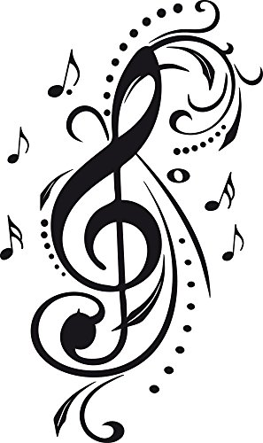 GRAZDesign Wanddekoration Wanddeko Violinschlüssel Mit Ornamenten - Musiker Geschenkideen Notenschlüssel Noten - Wandtattoo Musik Studio Deko / 50x30cm / 070 schwarz