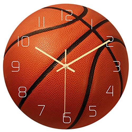 BESPORTBLE Basketball Wanduhr Kreative Stumme Bewegung Wanduhr Runde Sportwand Stille Uhr Home Wandkunst Dekoration