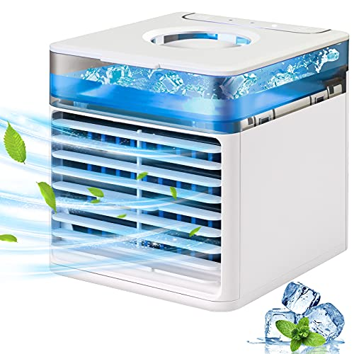Portable Air Cooler, JIMACRO Evaporative Cooling Fan USB Small Personal Space Air Conditioner Cooler and Humidifier, Air Cooler Desk Fan Cooling with 7 LED lights for Home Office