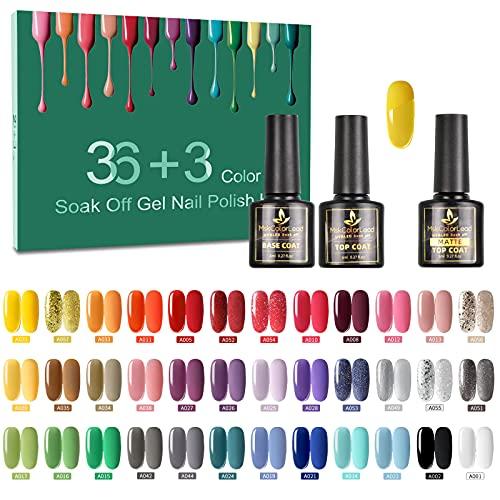 Tormay 36 Colori Smalto Semipermanente per Unghie, 39pz Gel Unghie Colorati UV LED SmaltoGel con Base e Top...