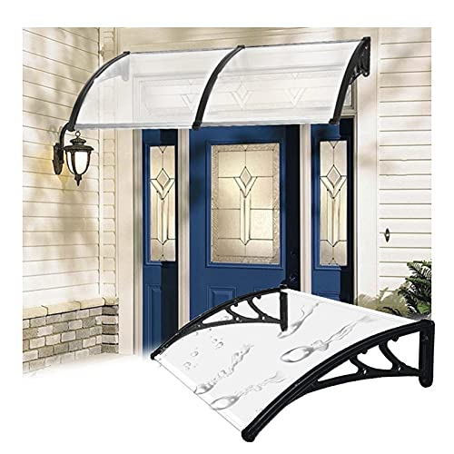 Marquesina Puerta Exterior, Transparente Policarbonato Anti-UV Marquesinas Para Techos, Exterior Lluvia Nieve Cubrir Abrigo Por Patio Balcón Porche, Escalable ( Color : Claro , Size : 1PCS-80X100CM )
