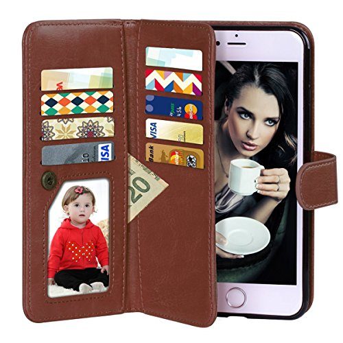 Vofolen 2 in 1 Case for iPhone 6 Case iPhone 6S Case Wallet Folio Flip PU Leather Case Protective Hard Shell Magnetic Detachable Slim Back Cover with Card Holder Slot Wrist Strap for iPhone 6 6S Brown