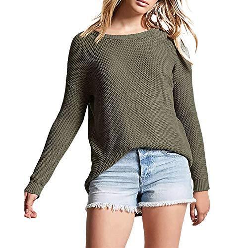 Tricot Femmes, Toamen Tops Manche longue Hauts de pull en tricot Pull irrégulier chandail Ouvrir en arrière Couleur unie Hiver (XL, Vert)