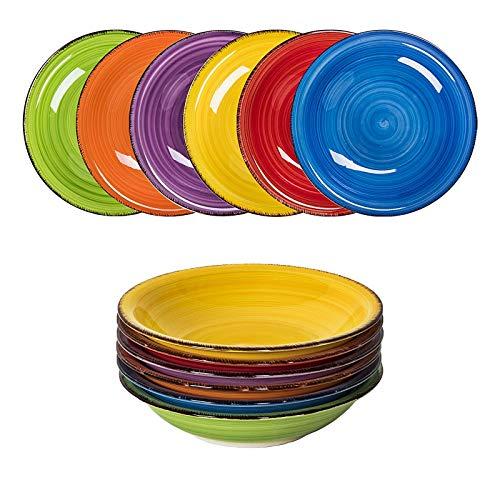 esto24 Design 6er Set große Suppenteller Schale Keramik Geschirr in tollen Farben für Ihre liebsten Speisen (Suppenteller Bunt)