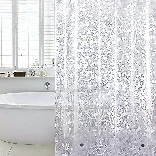 WELTRXE Duschvorhang Anti-Schimmel mit Gewicht Magnet unten, 0.2mm [183x200cm] Wasserdicht Antibakteriell Eva Vorhang für Dusche und Badewanne für Kinder, 3D Steinmuster, inkl. 12 Duschvorhangringen