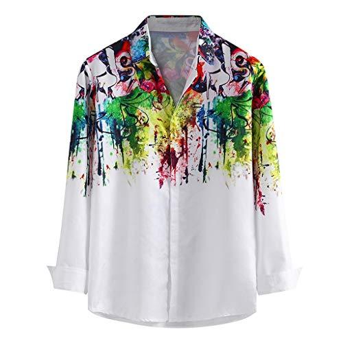 Luckycat Herren Hawaiihemd 3D Gedruckt Muster Langarm Aloha Freizeit Hemd Button Down Graphic Hemden Shirts Herren Hemd Graffiti Hemden Freizeit Bügelleicht Button-down