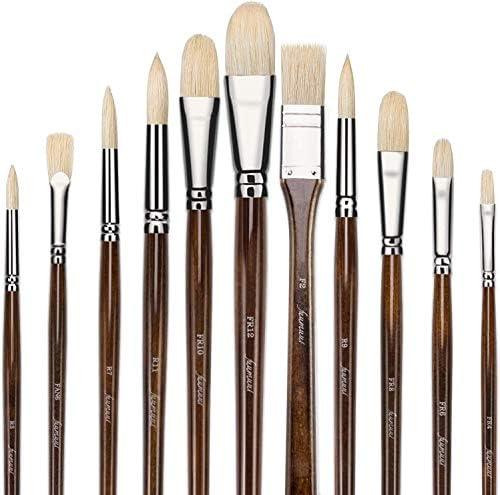 Fuumuui 11pcs Professional Paint Brush Set 100 Natural Chungking Hog Bristle Artist Brushes product image