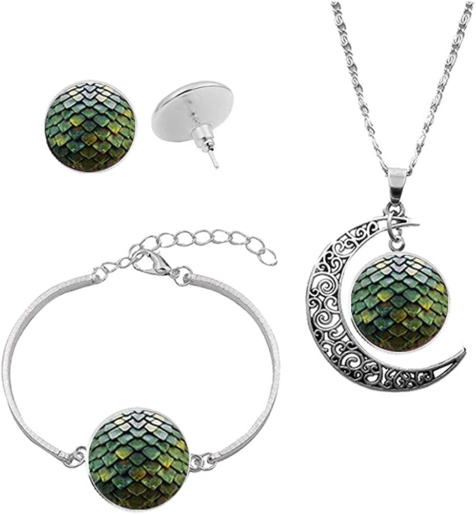 IShang Dragon Egg Necklace Jewelry Set for Women, Dragon Egg with Crescent Moon Time Gemstone Pendant Necklace + Bracelet + Stud Earring Costume Women's Jewelry Sets with Gift Box