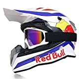 Casco integral Cascos de Motocross Four Seasons bicicleta de montaña carreras cuesta abajo casco completo hombres Guantes de gafas Red Bull CertificacióN DOT/ECE B,XXL