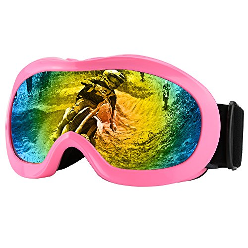ZDATT Dirt Bike Goggles, Kids Motorcycle Motocross Goggles ATV Racing Goggles UV Protection Kits for Outdoor Activity Sports, Pink