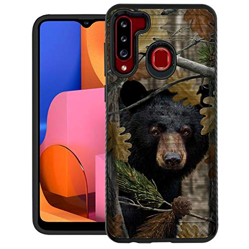 CasesonDeck Bear Case Compatible with [Samsung Galaxy A21 / A21 Case] [Brushed Armor] Case with Double Layer Protection and Design (Bear Tree Camo)