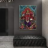 Puzzle 1000 piezas Pintura abstracta moderna ilustración de arte moderno dios hindú Ganesha pintura puzzle 1000 piezas animales Rompecabezas de juguete de descompresión intele50x75cm(20x30inch)