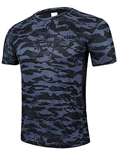 GEEK LIGHTING Men's Short Sleeve Crewneck T-Shirt, Soft Breathable Mesh Tee (Camouflage, Medium)