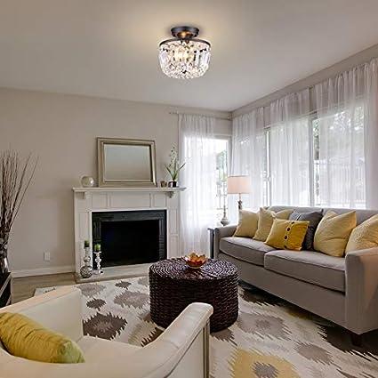 H8.66xD9.25 MonDaufie Gold Crystal Chandelier Semi Flush Mount Ceiling Light Fixture Crystal Ceiling Light for Bedroom Living Room Hallway Closet
