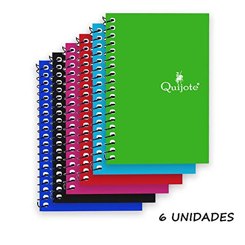 Quijote Paper World Pack 6 Cuadernos Espirales Horizontal, Interior Cuadros 4x4mm, Tapa Cartón, 80 Hojas, 60G, 8.5x12.5cm para Uso Escolar, Oficina, Trabajo, etc.