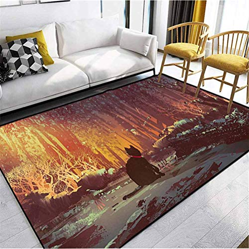 Fantasy Art Decor Polyester Kids Area Rug Non Slip Kitchen Floor Mats Cushioned Comfort Surreal Lost Black Cat Deep Dark in Forest with Mystic Lights Picture Orange Brown 6 x 2.5 ft