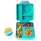 OmieBox Lunchbox (Meadow) - Bento Box mit 3 Fächern und auslaufsicher isoliertem Thermo Behälter | Brotdose für Kindergarten Kinder Schule