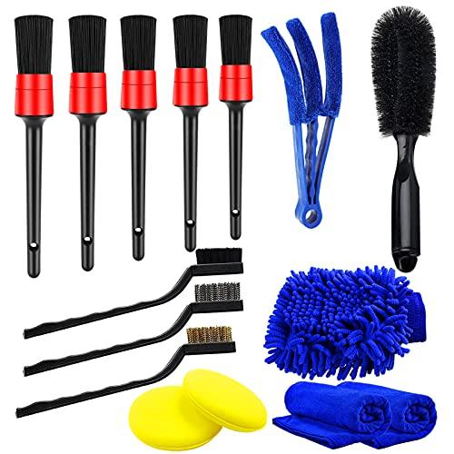 Yumzeco 5pcs Cepillos Limpieza Coche con cepillos para detalles, cepillos de alambre, Plumero Limpiador, cepillo para neumáticos, guante de lavado, almohadilla de limpieza de espuma, toallas