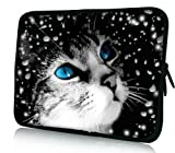 Blue Cat Eyes Universal 15' 15.4' 15.5' Neoprene Notebook Laptop Soft Sleeve Bag Cover Case for 15.6 Inch Acer Asus Compaq Dell Inspiron XPS Lenovo HP Samsung Toshiba Apple MacBook