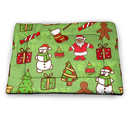 Christmas Santa Gifts Tree Non Slip Pet Bed Mat Washable Dog Mattress Pad Cat Blanket Cushion 21'x14