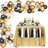 Kit Arco Globos Oro Negro, Confeti Oro Negro Blanco Globos Látex, Paquete Guirnaldas Arco para Hombres, Mujeres, Cumpleaños, Fiesta, Aniversario, Graduación, Centro Mesa, Baby Shower, Decoraciones