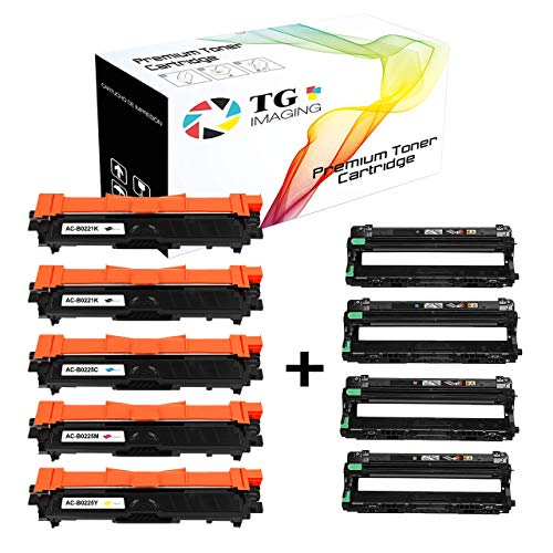 (9-Pack, Toner + Drum) Compatible TN221 TN225 (2xB+CYM) Plus DR221 (BCYM) Toner Cartridge Drum Unit for HL3170CDW MFC9130CW Printer, Sold by TG Imaging