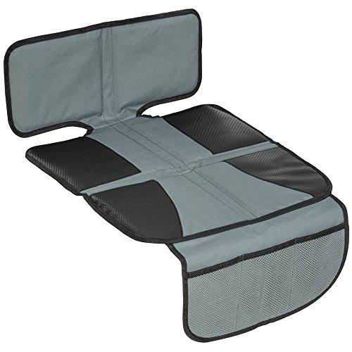 TecTake Kindersitzunterlage Autositzauflage mit Netztaschen für Autokindersitze Unterlage für Kindersitz Spielzeugtasche Sitzschoner schwarz