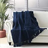 Chunky Knit Throw Blanket, Navy Blue Soft Warm Cozy Bed Throw Blanket with Tassels, Boho Style Textured Knitted Home Decorative Blanket for Couch, Sofa &Bed, 50'x60'
