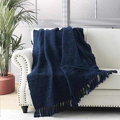 Thick Chunky Knitted Navy Blue Throw Blanket for Couch Chair Sofa Bed, Chic Boho Style Textured Basket Weave Pattern Blanket with Decorative Fringe 127x152cm