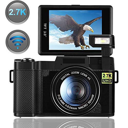 Camara De Fotos Camara Digital con WiFi 2.7K 24.0MP Ultra HD Camara Compacta 3.0 Pulgadas 180 Grados de Rotación Flip Screen Linterna Retráctil Videocamara