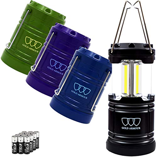 Gold Armour 4 Pack LED Camping Lantern COB Portable Flashlight with 12 AA Batteries - Survival Kit for Emergency, Hurricane, Power Outage, Camping, Hurricane, Power Outage, Great Gift Set