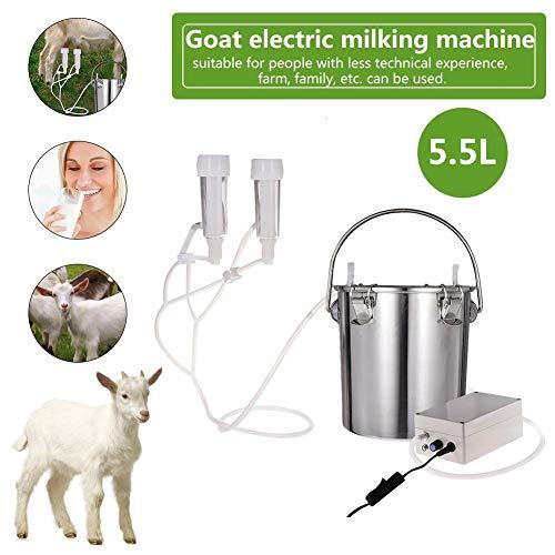 La máquina de ordeño de vaca eléctrica más nueva, ordeñadora de succión de acero inoxidable ajustable Bomba de vacío Hogar Kit de máquina de ordeño de vaca cabra oveja eléctrica para granja, 5.5L