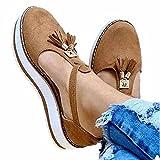 Women's Casual Platform Flat Comfort Shoes, Closed Toe Sandals Ladies Casual Solid Shoes, Fashion Fringe Buckle Strap (Khaki, 38)