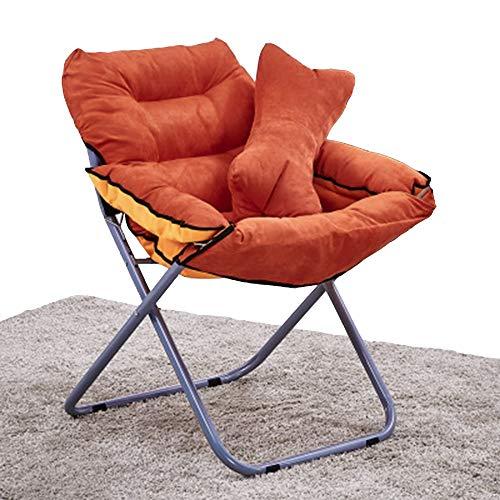 Axdwfd Chaise longue Fauteuil lounge, fauteuil pliant dortoir pour ordinateur Lazy Cushion Chair Bay Window Fauteuil lounge 80 * 51 * 76CM (Couleur : Orange)