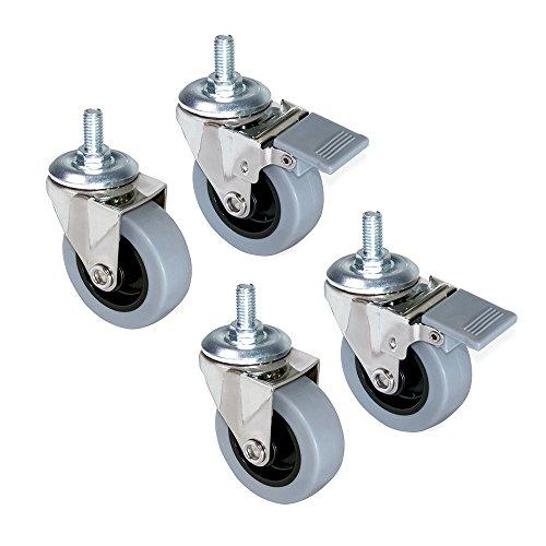 Emuca - Set aus 4 Lenkrollen für Möbel Ø50mm mit Gewindestift M8x15 und Kugellager, schwenkrollen gummi aus grau Farbe