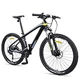27,5 pulgadas de bicicletas de montaña for adultos, diseño ultra ligero de fibra de carbono de montaña bicicleta de pista, doble freno de disco Hombres Mujeres hardtail bicicleta de la montaña, amaril