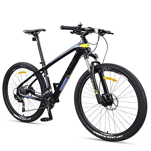 Xiaoyue 27,5 Zoll Erwachsene Mountain Bikes, Ultra-Light Carbon Fiber-Rahmen Mountain Trail Fahrrad, Doppelscheibenbremse Männer Frauen Hardtail Berg Fahrrad, Gelb, 27 Geschwindigkeit lalay