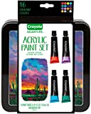 Crayola Acrylic Paint Set with Decorative Storage Tin, Assorted Colors, Gift, 16 Paint Tubes