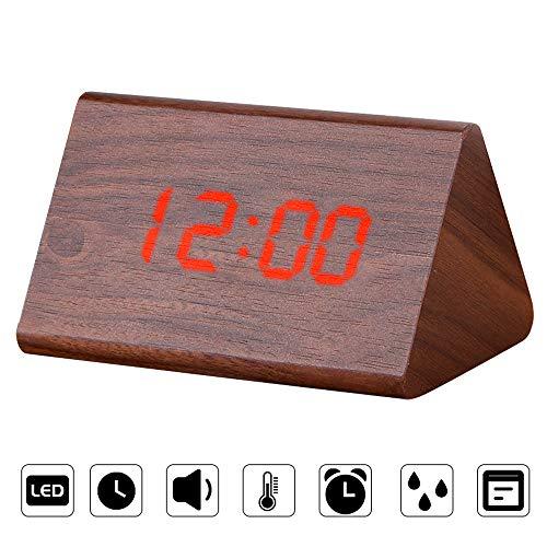 Ertisa Holz Wecker Digital Digital LED Wecker mit Sprachsteuerung, 3 einstellbaren Helligkeits-, Temperatur- und Uhrzeitanzeigen, 3 Weckern, USB/Batterie für das Home Office