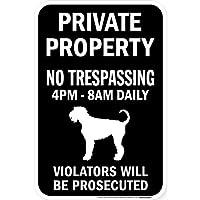 PRIVATE PROPERTY ブラックマグネットサイン:エアデールテリア シルエット 英語 私有地 無断立入禁止