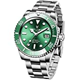 LIGE Men Watch Fully Automatic Mechanical Watches,Stainless Steel Watch with Date Display Diver Waterproof 100M Luxury Green Wrist Watch