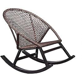 HCMNME Transat en Textilène Chaise Longue Balcon Chaise à Bascule Maison Petite Chaise en rotin Chaise de Loisirs Adulte…
