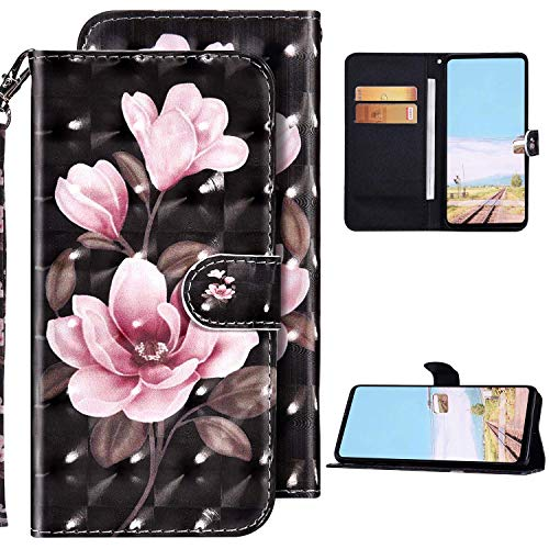 Kompatibel mit Samsung Galaxy A41 Hülle Ledertasche Brieftasche Schutzhülle Flip Case,3D Glänzend Bunt Bemalt Muster PU Leder Klapphülle Tasche Handyhülle für Galaxy A41,Rosa Blume