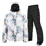 USTZFTBCL Tuta da Sci Spessa da Uomo Invernale Antivento Impermeabile Termica da Uomo Pantaloni da Neve Imposta Sci e Snowboard Giacca da Sci Black XL