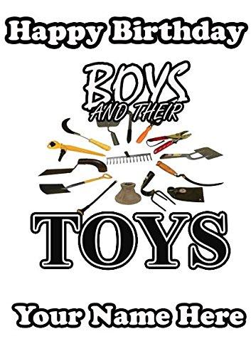 Jongens en hun speelgoed Tuingereedschap Verjaardag Wenskaart Gepersonaliseerde codeb a5 Wenskaart Humourkaart